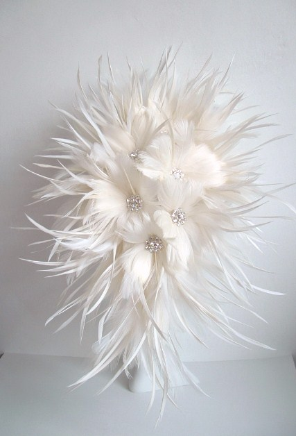 Feather Flower Bridal Bouquet - Off White
