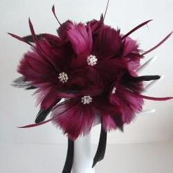 Brides Maids Feather Flower Bouquet